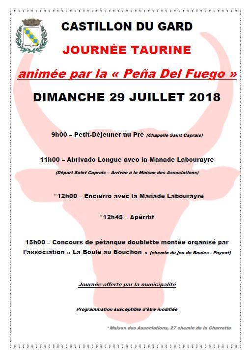 Journée taurine animée par la « Pena Del Fuego »