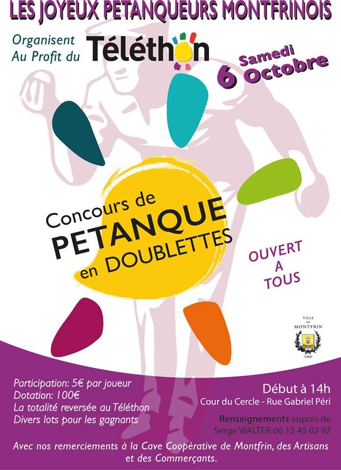 Concours de Pétanque en Doublettes (Téléthon 2018)