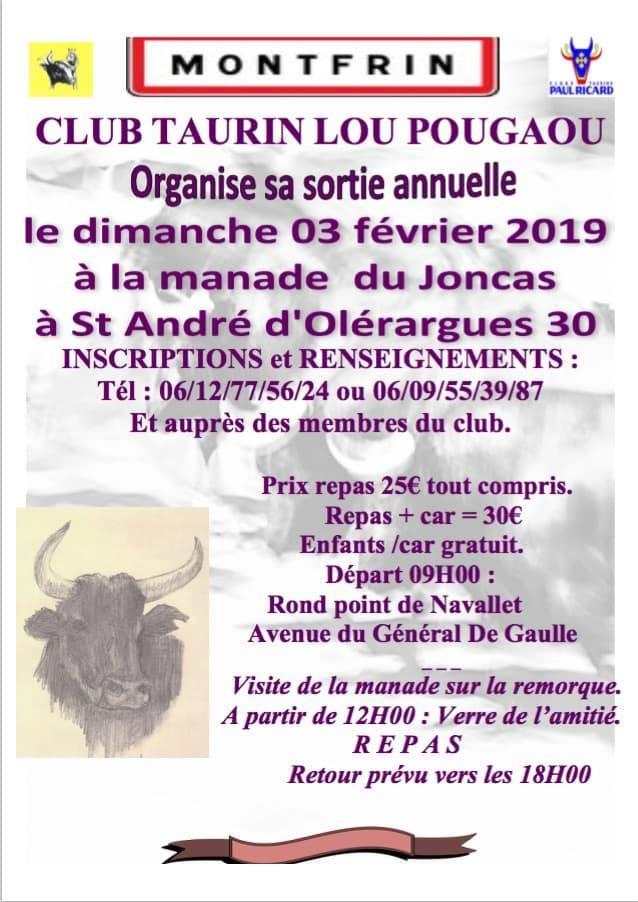 Le programme sortie en camargue club taurin lou pougaou 2019