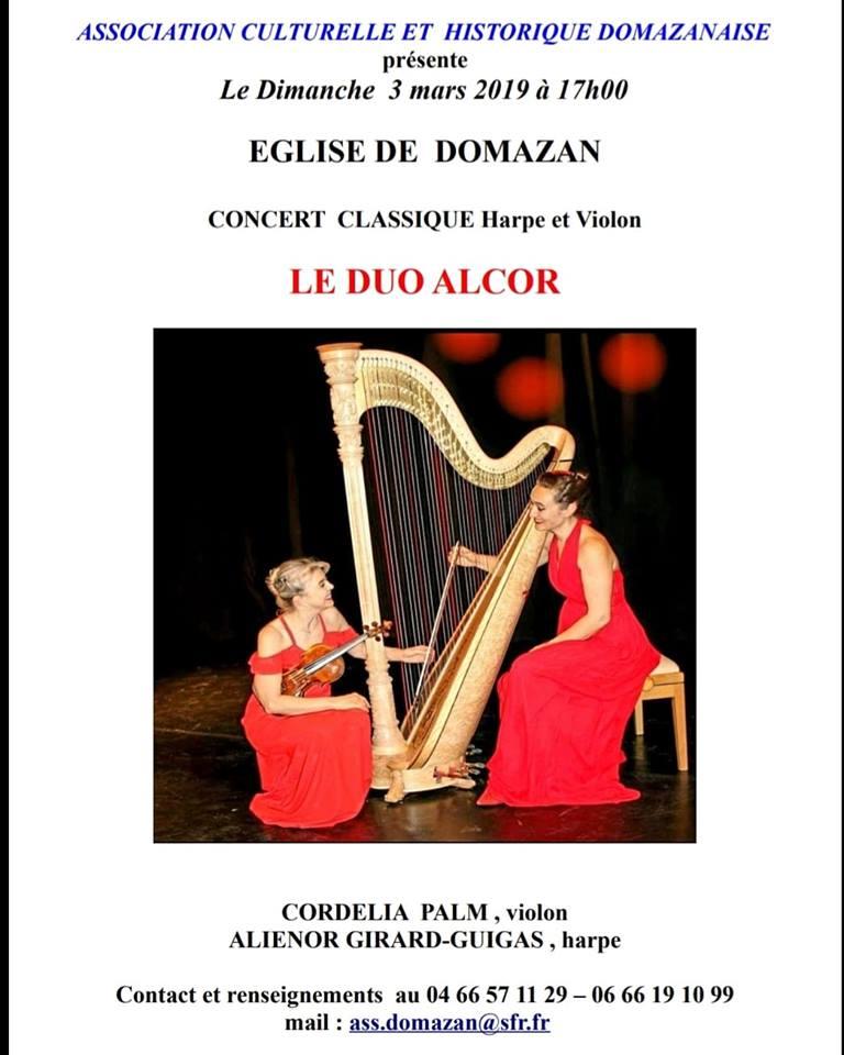 """Concert violon  et harpe par le """"DUO ALCOR"""""""