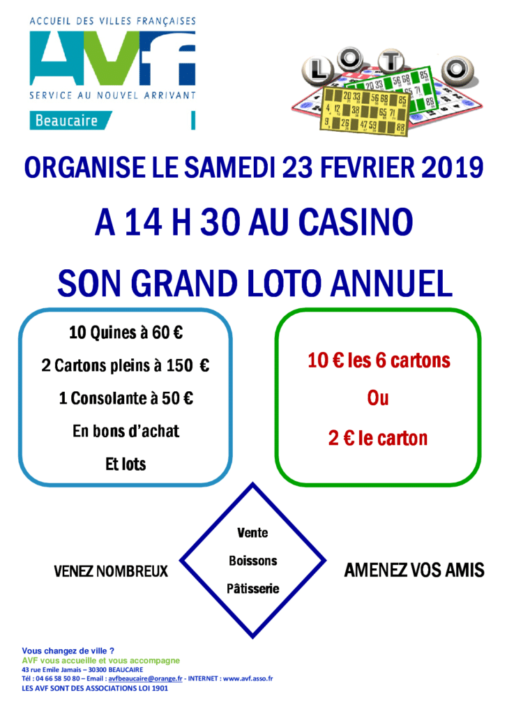 Le grand loto de l'AVF Beaucaire 2019