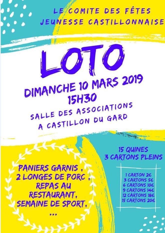 Loto du Comité des Fêtes de Castillon du Gard 2019