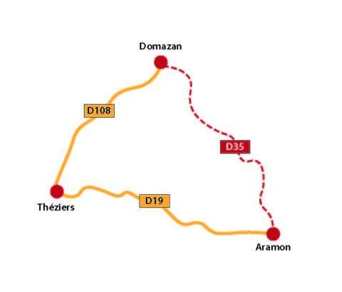 Plan Déviation durant Course motocycliste entre Aramon et Domazan