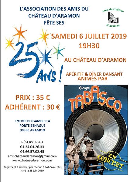 Dîner du 25ème anniversaire des Amis du Château d'Aramon