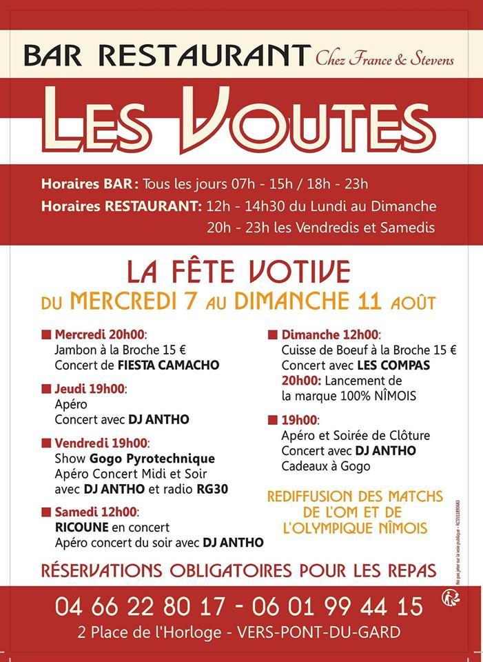 Fête Votive 2019 au Bar Les Voûtes à Vers Pont Pont du Gard