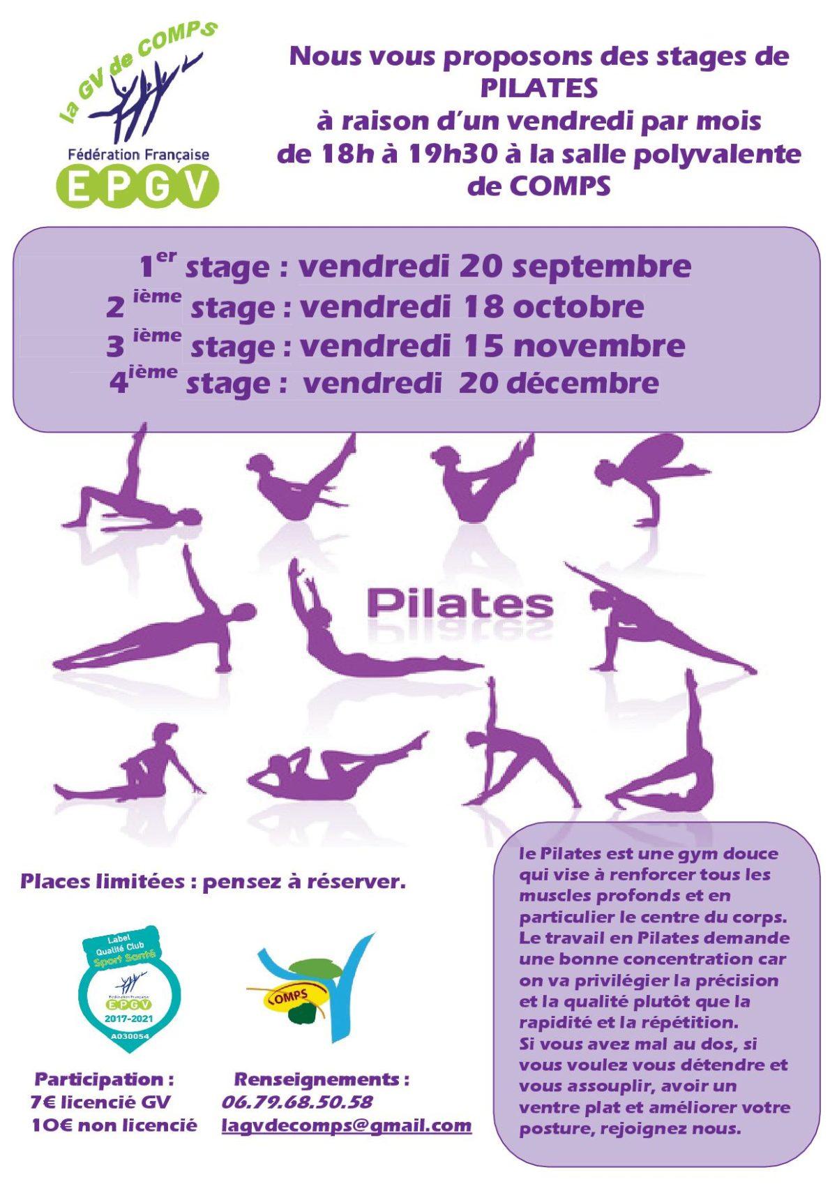 Stage de pilates avec la GV de Comps