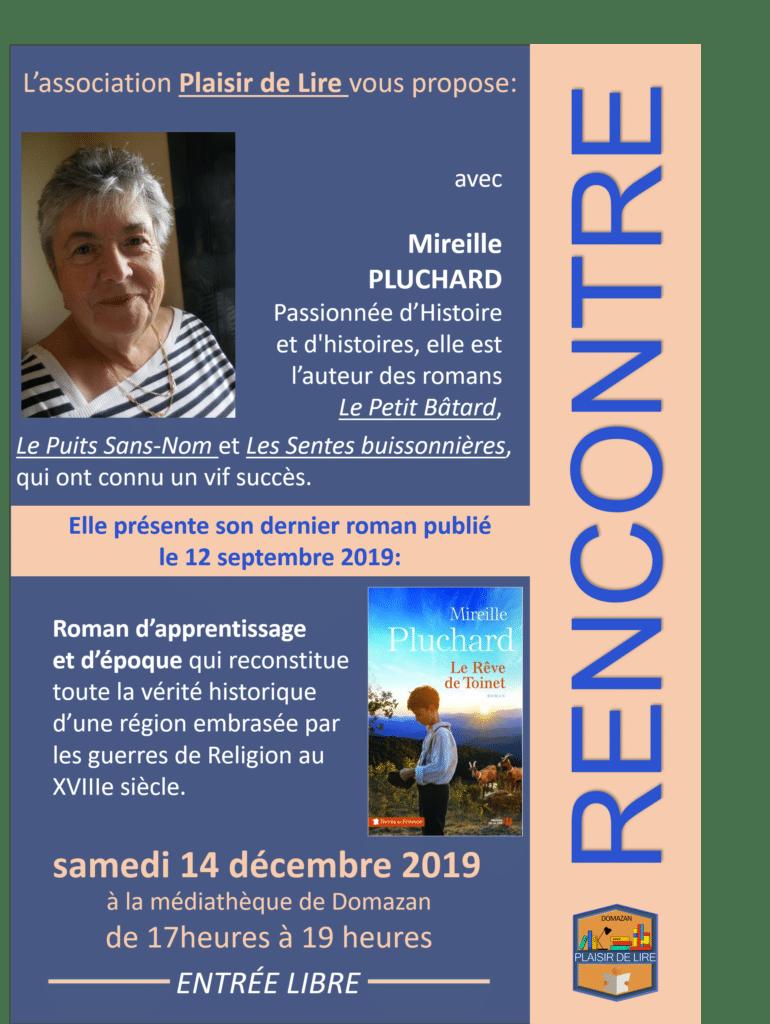 Le Rêve de Toinet de Mireille PLUCHARD présente son dernier livre