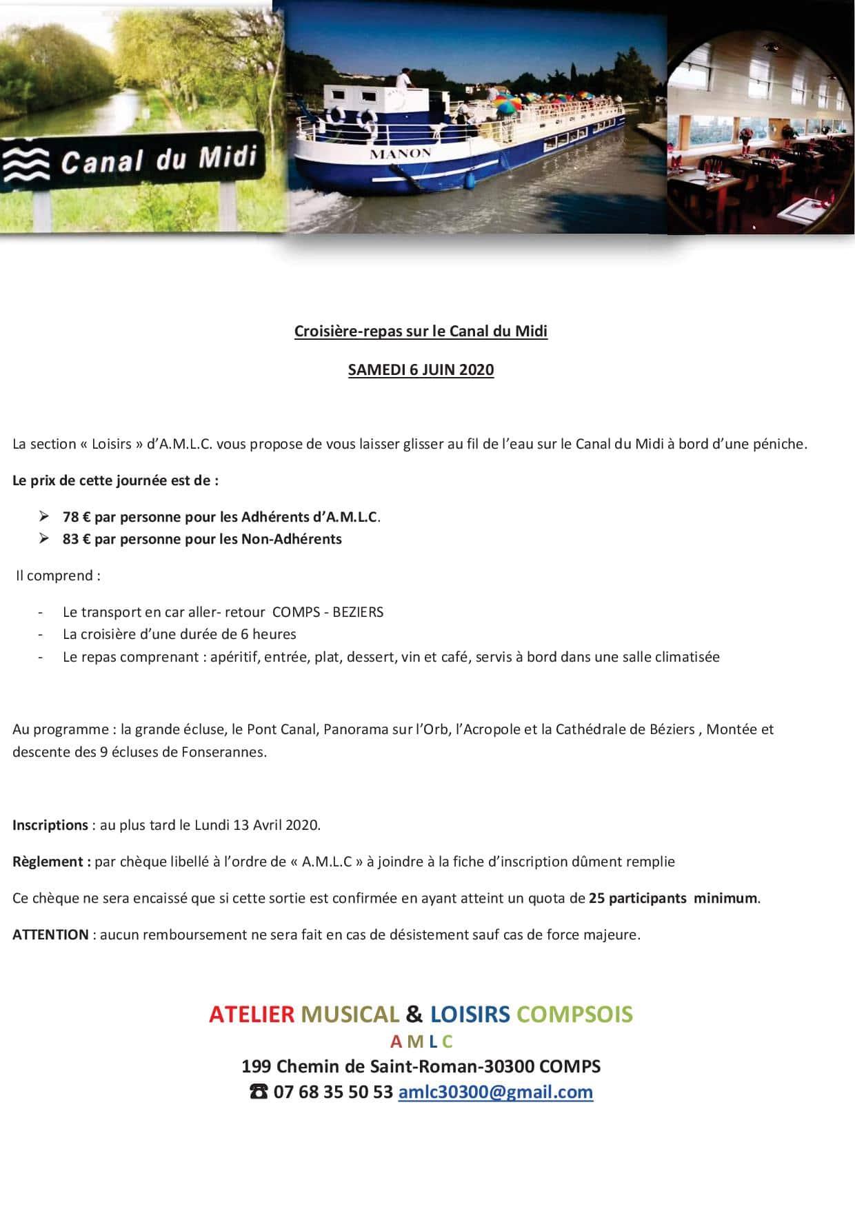 ANNULE - Croisière-repas sur le Canal du Midi