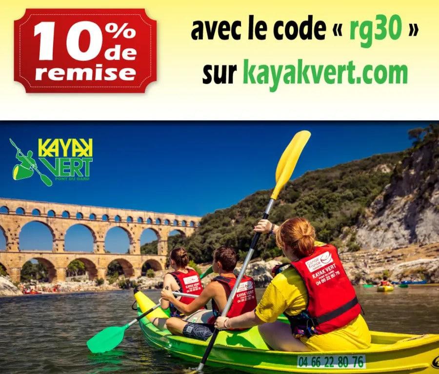 Offre partenaire kayak vert 10% avec RG30