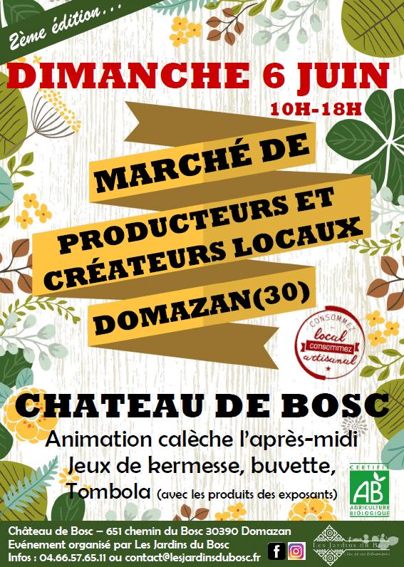 Marché de producteurs et créateurs locaux du château de Bosc